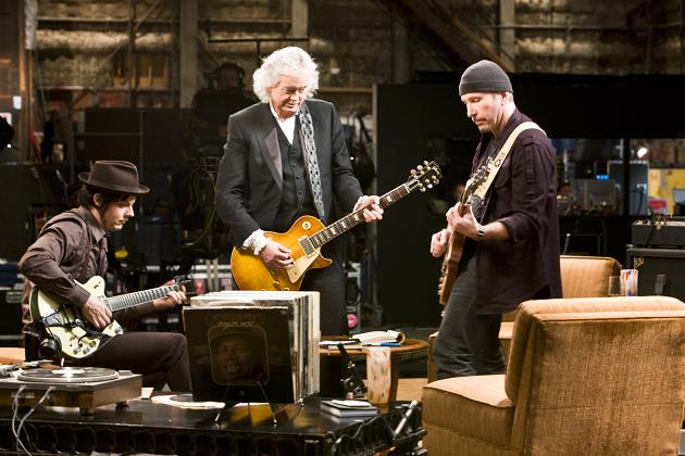 (L-R) Jack White, Jimmy Page, The Edge