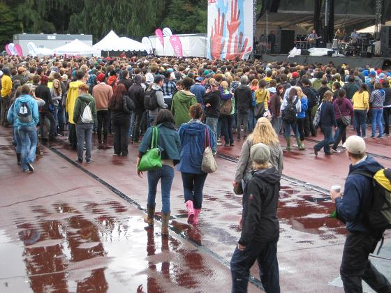 The soaked floor at Cold War Kids