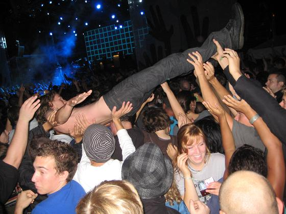 Kids crowd-surfing at Franz Ferdinand